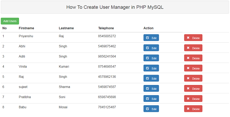 How To Create User Manager in PHP MySQL
